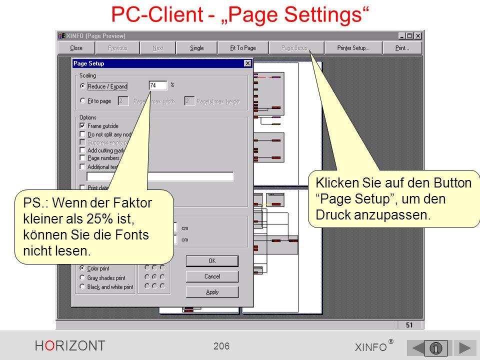 HORIZONT 205 XINFO ® PC-Client - Druckvorschau Die Druckvorschau (Page Preview).