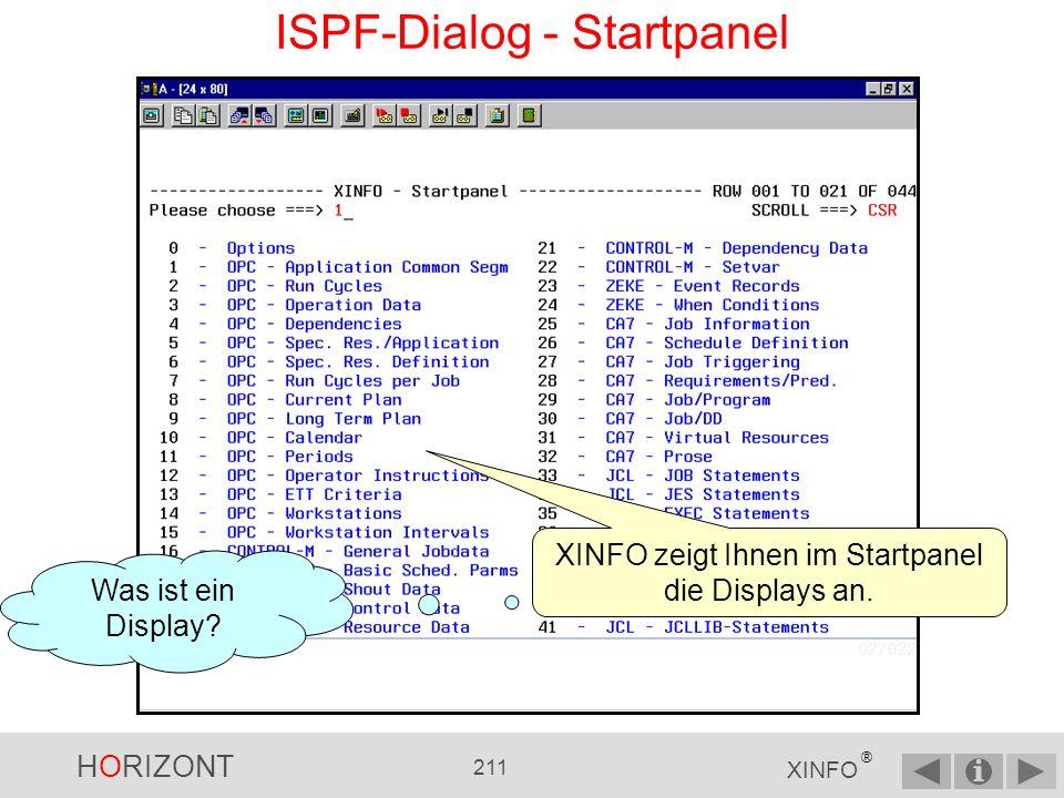 HORIZONT 210 XINFO ® ISPF-Dialog - Hauptpanel Zeilenkommandos Befehle Startpanel Suchbegriffe Vergleichsoperatoren
