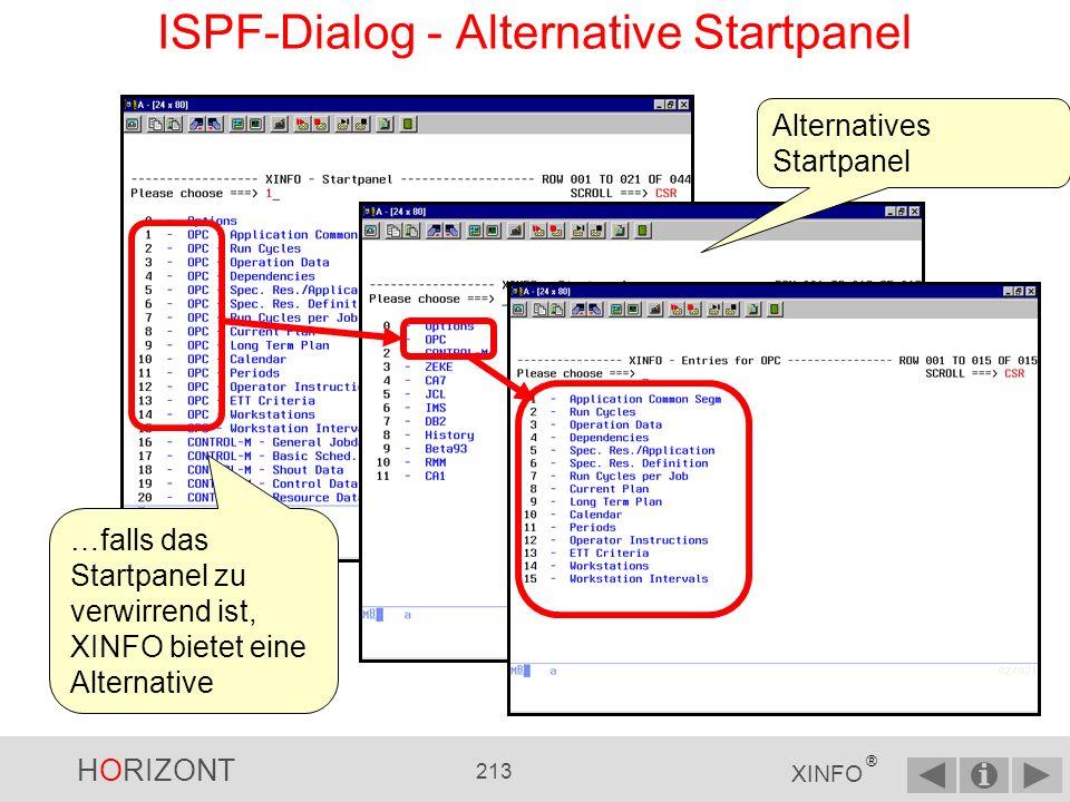 HORIZONT 212 XINFO ® Ein Display ist eine Kombination aus Eingabe- …...und Ausgabepanel ISPF-Dialog - Was ist ein Display?