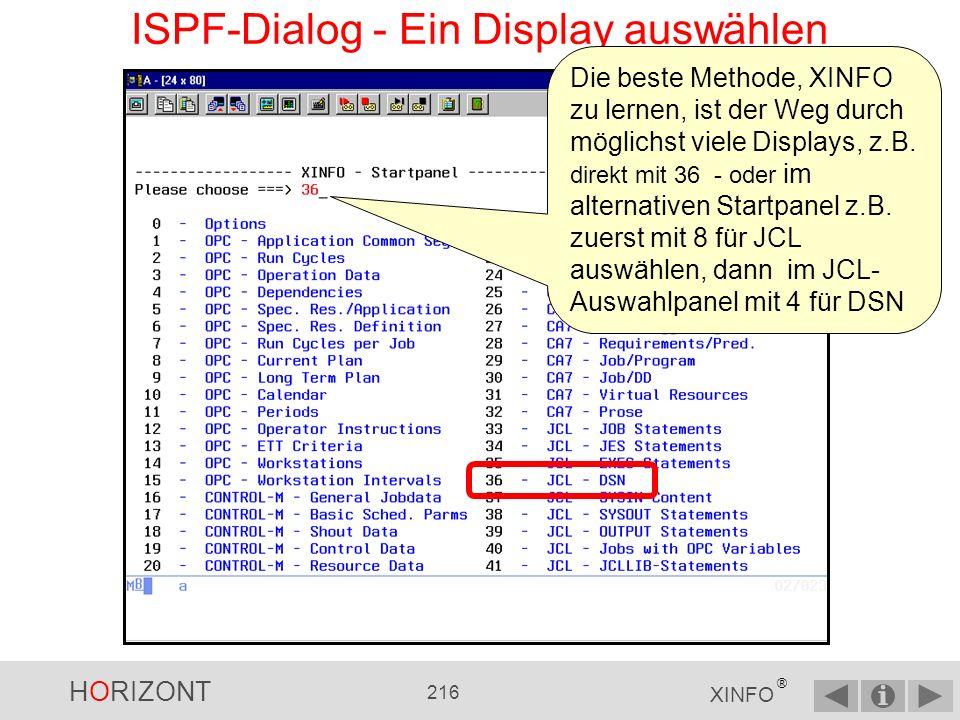 HORIZONT 215 XINFO ® ISPF-Dialog - Optionen Mit Y ist das Startpanel gruppiert, mit N sehen Sie alle Abfragemöglichkeiten.