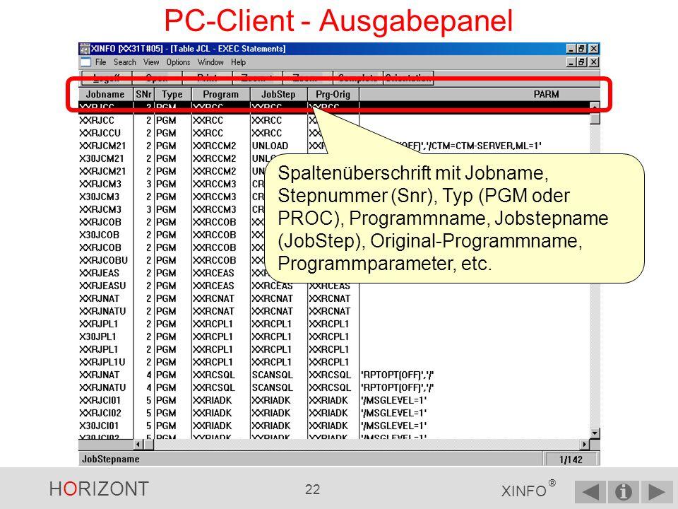 HORIZONT 21 XINFO ® PC-Client - Eingabepanel Suche nach allen Programmnamen mit XXR als Prefix Starten Sie die Abfrage mit OK
