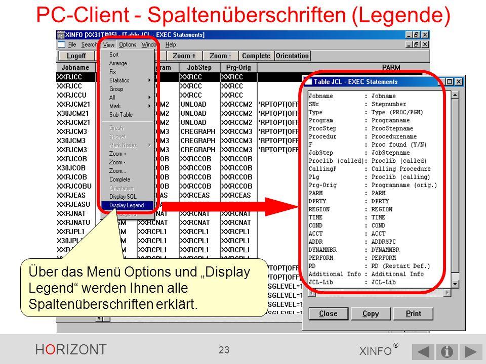 HORIZONT 22 XINFO ® PC-Client - Ausgabepanel Spaltenüberschrift mit Jobname, Stepnummer (Snr), Typ (PGM oder PROC), Programmname, Jobstepname (JobStep), Original-Programmname, Programmparameter, etc.