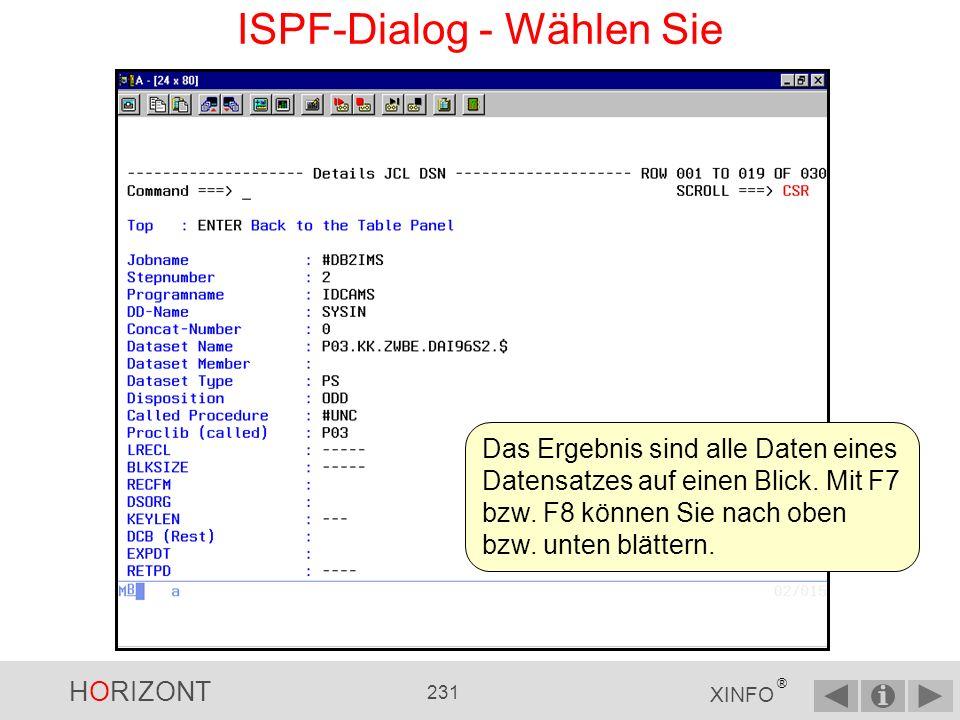 HORIZONT 230 XINFO ® ISPF-Dialog - Wählen Sie Das Zeilenkommando S (Wählen Sie ) zeigt alle Daten einer Datenzeile an