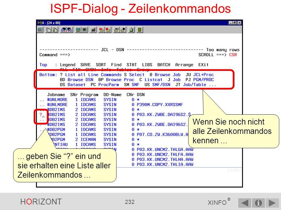 HORIZONT 231 XINFO ® ISPF-Dialog - Wählen Sie Das Ergebnis sind alle Daten eines Datensatzes auf einen Blick.