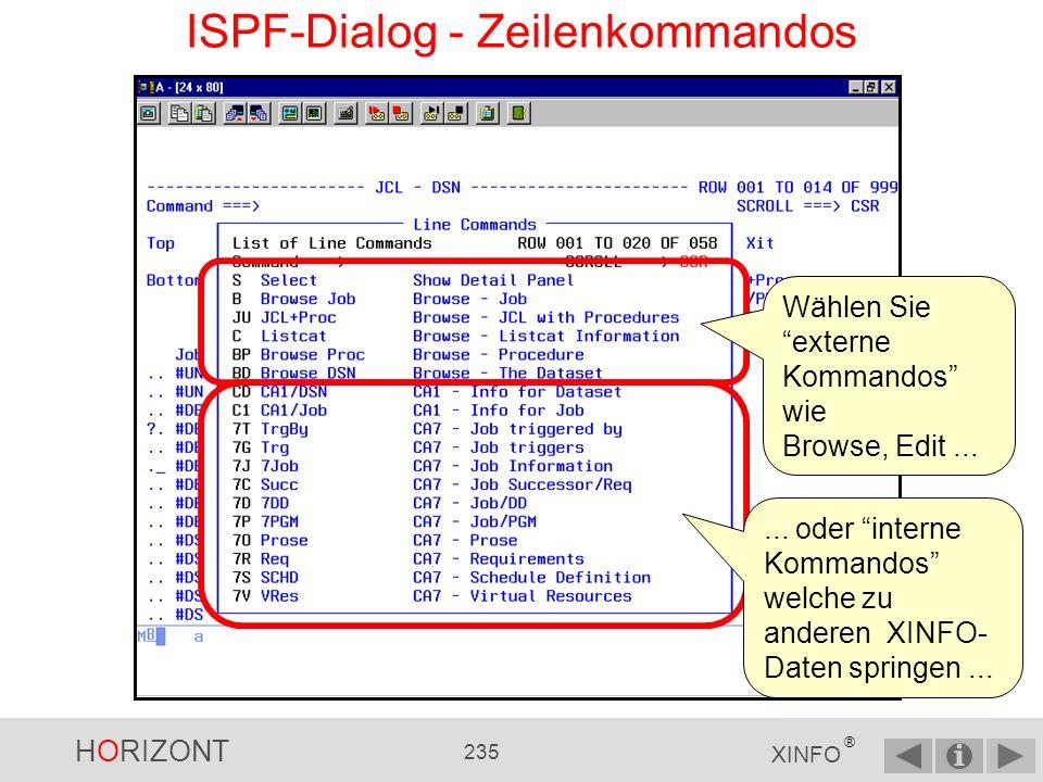HORIZONT 234 XINFO ® ISPF-Dialog - Zeilenkommandos … und schon Sie sehen die JCL EDIT-JCL wäre genauso möglich, oder EDIT-Prozedur oder EDIT- Datei.
