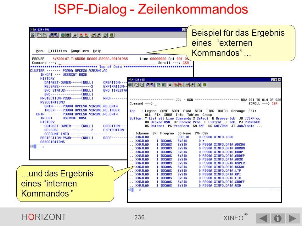 HORIZONT 235 XINFO ® ISPF-Dialog - Zeilenkommandos...