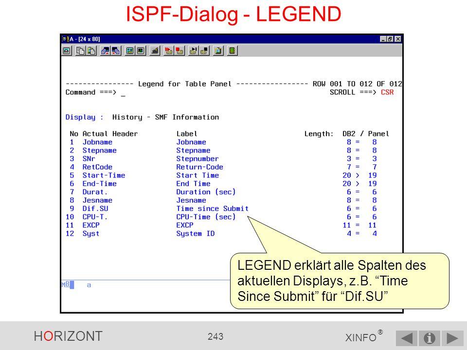 HORIZONT 242 XINFO ® ISPF-Dialog - HELP F1 oder HELP gibt Ihnen einen guten Überblick über alle XINFO-Primärkommandos.