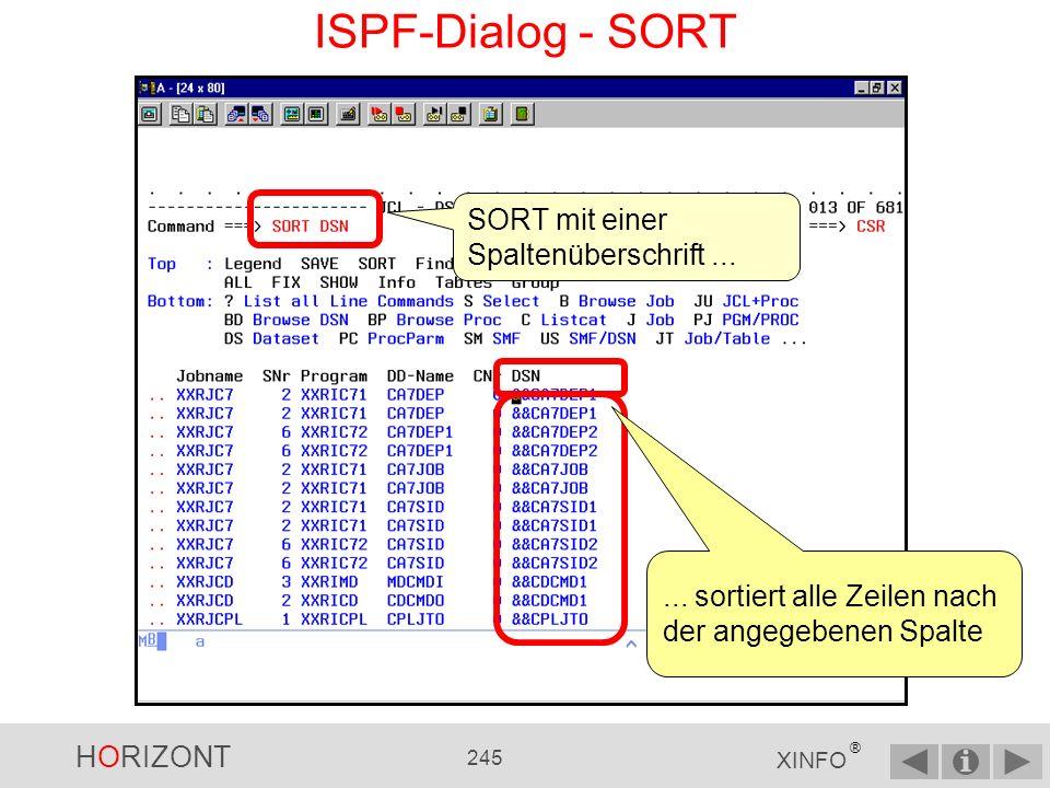 HORIZONT 244 XINFO ® ISPF-Dialog - SORT Mit dem SORT-Kommando können Sie das Ergebnis nach jeder Spalte sortieren lassen......