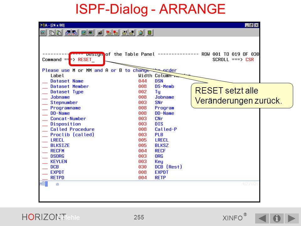 HORIZONT 254 XINFO ® ISPF-Dialog - ARRANGE Mit dem ARRANGE-Kommando können die Panels individuell angepasst werden.