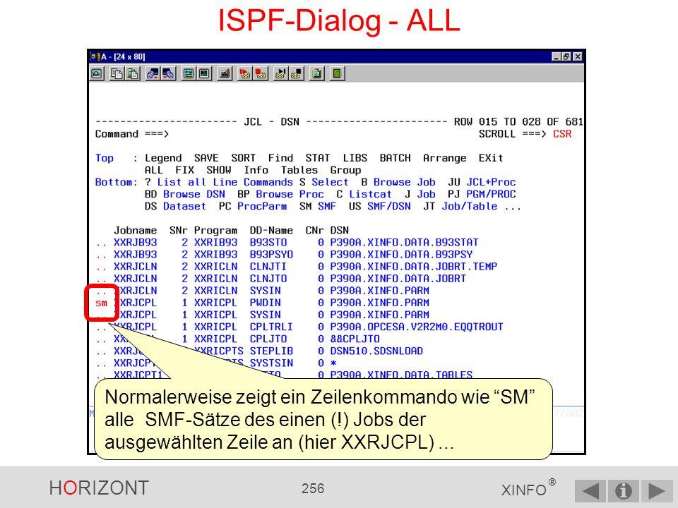 HORIZONT 255 XINFO ® ISPF-Dialog - ARRANGE Befehle RESET setzt alle Veränderungen zurück.