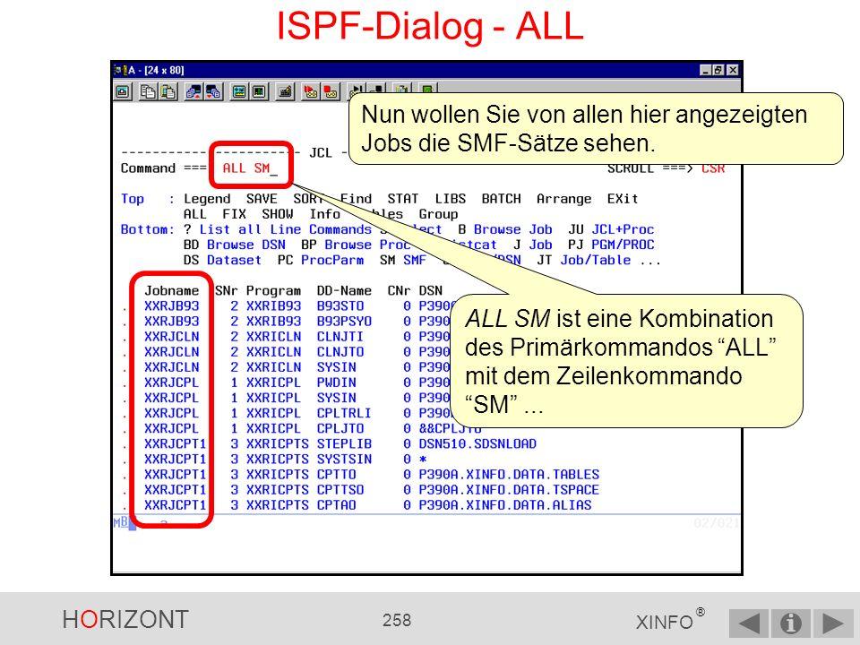 HORIZONT 257 XINFO ® ISPF-Dialog - ALL Hier sehen Sie alle SMF-Werte des ausgewählten Jobs XXRJCPL