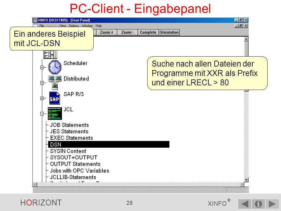 HORIZONT 25 XINFO ® PC-Client - Ausgabepanel