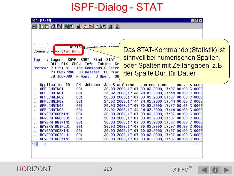 HORIZONT 259 XINFO ® ISPF-Dialog - ALL...