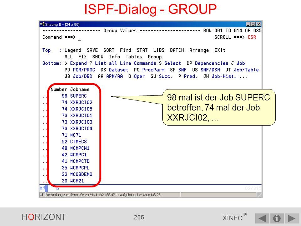 HORIZONT 264 XINFO ® ISPF-Dialog - GROUP Mit SORT 1 d können Sie nach der Häufigkeit innerhalb der GROUP- Darstellung sortieren.