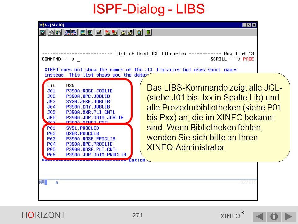 HORIZONT 270 XINFO ® ISPF-Dialog - LIBS...geben Sie LIBS an...