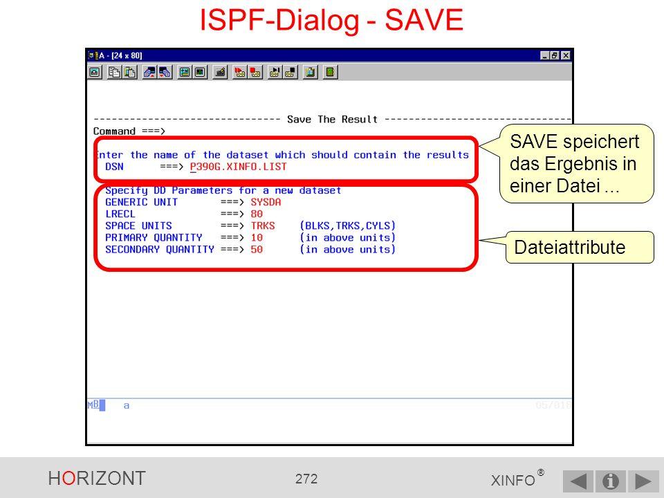 HORIZONT 271 XINFO ® ISPF-Dialog - LIBS Das LIBS-Kommando zeigt alle JCL- (siehe J01 bis Jxx in Spalte Lib) und alle Prozedurbibliotheken (siehe P01 bis Pxx) an, die im XINFO bekannt sind.