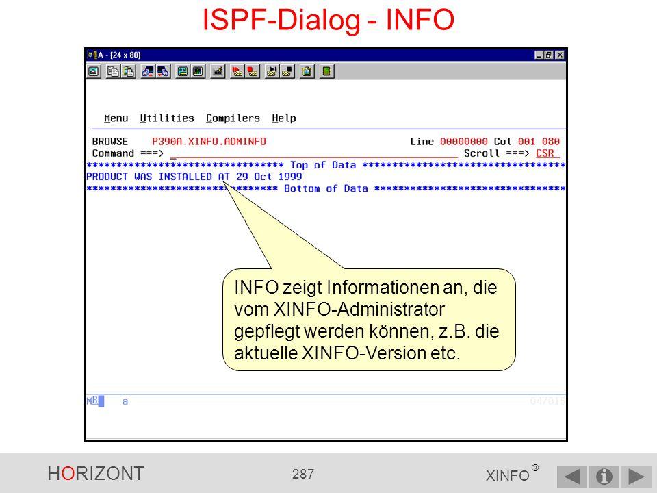 HORIZONT 286 XINFO ® ISPF-Dialog - LISTLC2 LISTLC2 zeigt alle Zeilenkommandos (line commands) je Display an