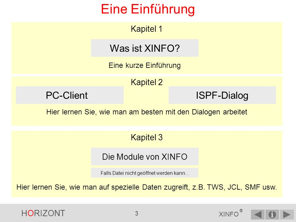 HORIZONT 213 XINFO ® Alternatives Startpanel …falls das Startpanel zu verwirrend ist, XINFO bietet eine Alternative ISPF-Dialog - Alternative Startpanel