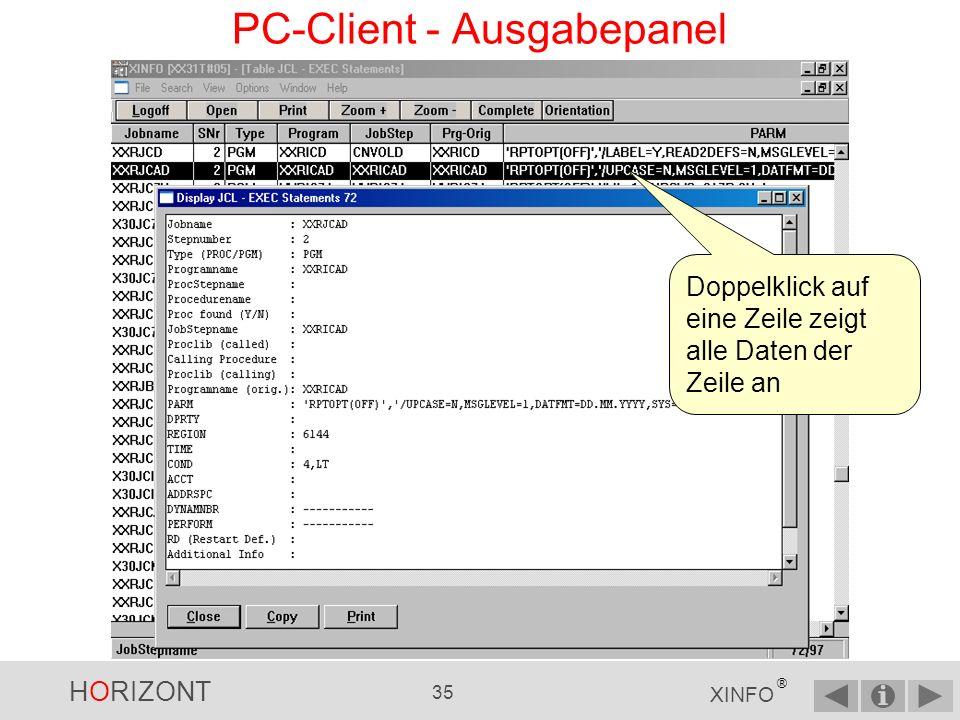 HORIZONT 34 XINFO ® PC-Client - Ausgabepanel