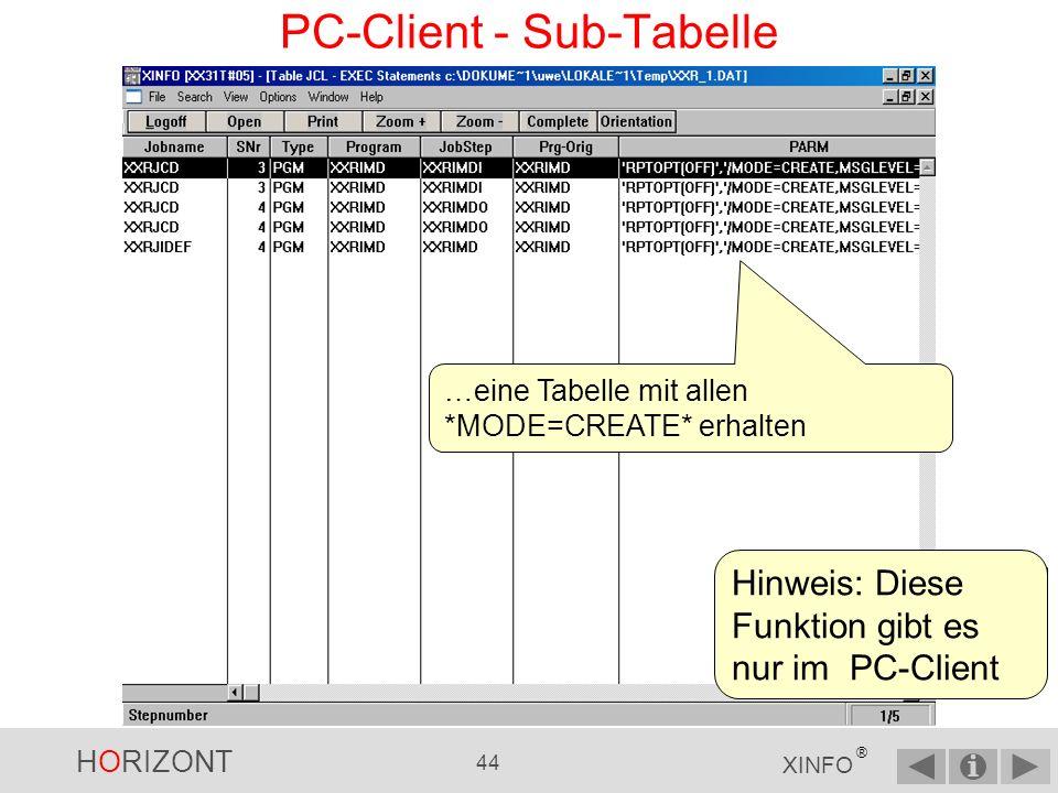 HORIZONT 43 XINFO ® PC-Client - Sub-Tabelle …dann über Menü VIEW und Sub-Tabelle …