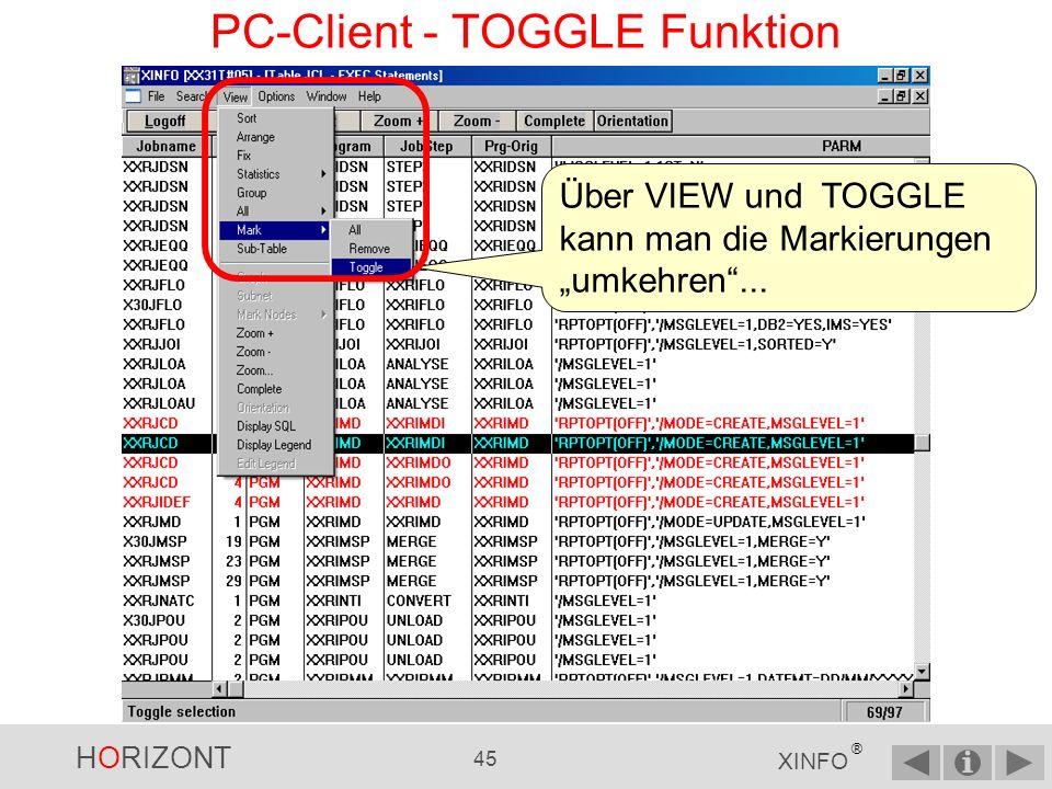 HORIZONT 44 XINFO ® PC-Client - Sub-Tabelle …eine Tabelle mit allen *MODE=CREATE* erhalten Hinweis: Diese Funktion gibt es nur im PC-Client