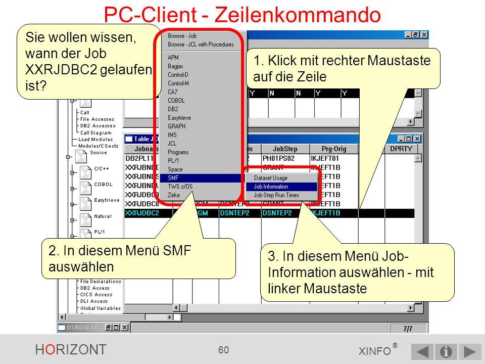 HORIZONT 59 XINFO ® PC-Client - Zeilenkommando Das Programm DSNTEP2 wird in diesen Jobs gefunden