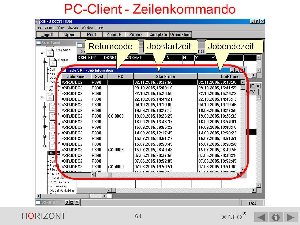 HORIZONT 60 XINFO ® PC-Client - Zeilenkommando Sie wollen wissen, wann der Job XXRJDBC2 gelaufen ist.