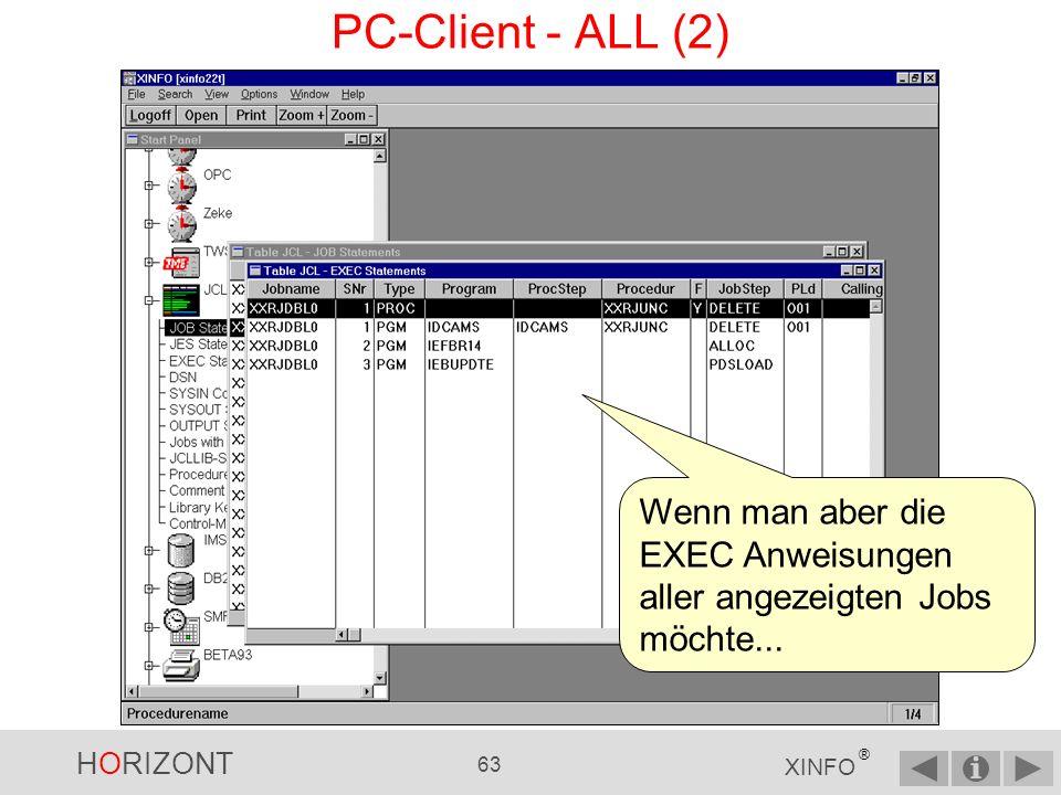 HORIZONT 62 XINFO ® PC-Client - ALL (1) Zeilenkommandos gelten normalerweise nur für den ausgewählten Satz......z.B.