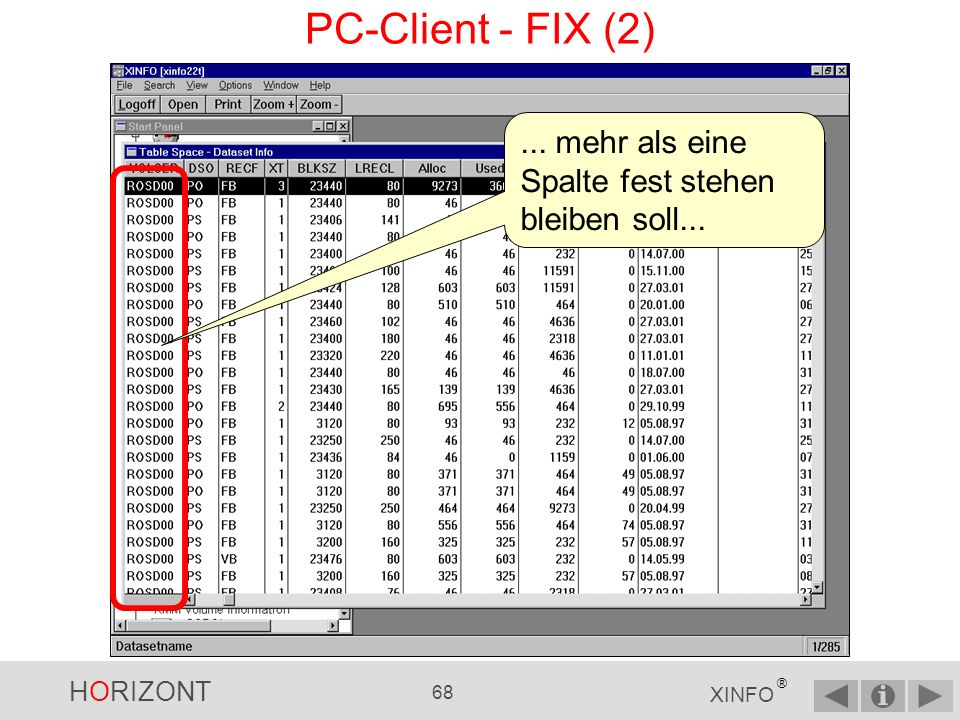 HORIZONT 67 XINFO ® PC-Client - FIX (1) wenn beim Scrollen...