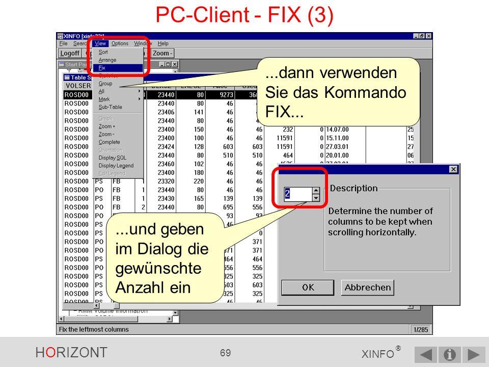 HORIZONT 68 XINFO ® PC-Client - FIX (2)... mehr als eine Spalte fest stehen bleiben soll...