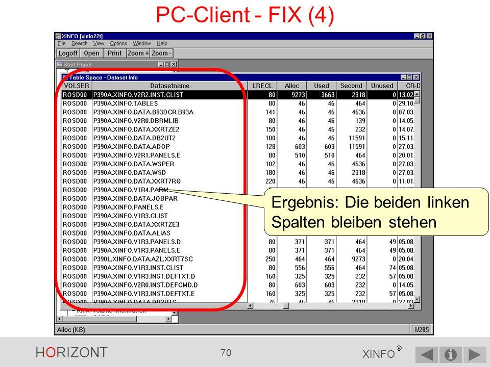 HORIZONT 69 XINFO ® PC-Client - FIX (3)...und geben im Dialog die gewünschte Anzahl ein...dann verwenden Sie das Kommando FIX...