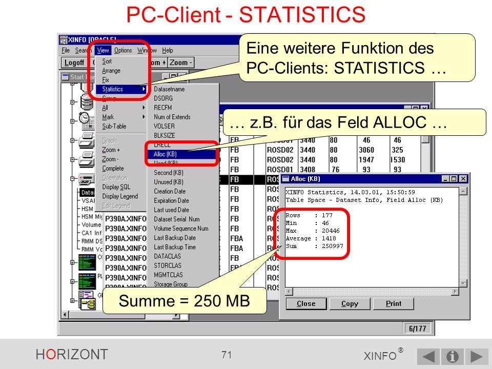 HORIZONT 70 XINFO ® PC-Client - FIX (4) Ergebnis: Die beiden linken Spalten bleiben stehen