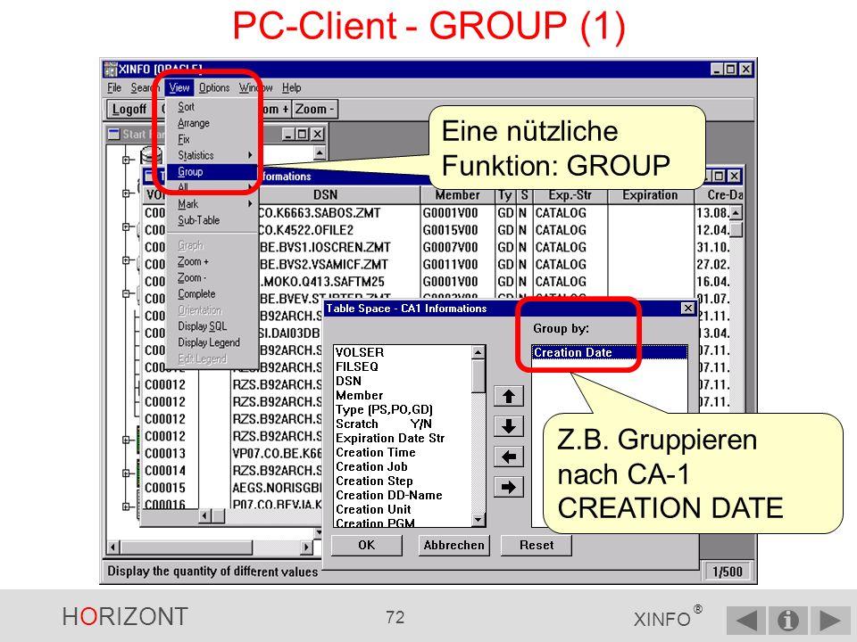 HORIZONT 71 XINFO ® PC-Client - STATISTICS Eine weitere Funktion des PC-Clients: STATISTICS … Summe = 250 MB … z.B.