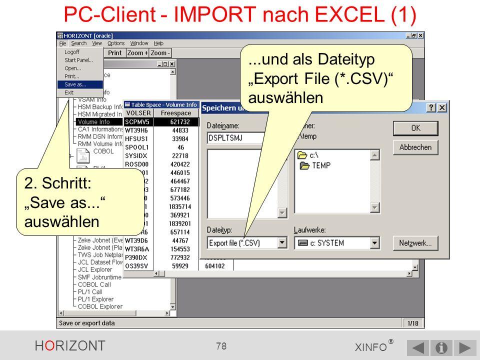 HORIZONT 77 XINFO ® PC-Client - EXPORT (4)...und in die richtige Reihenfolge bringen.