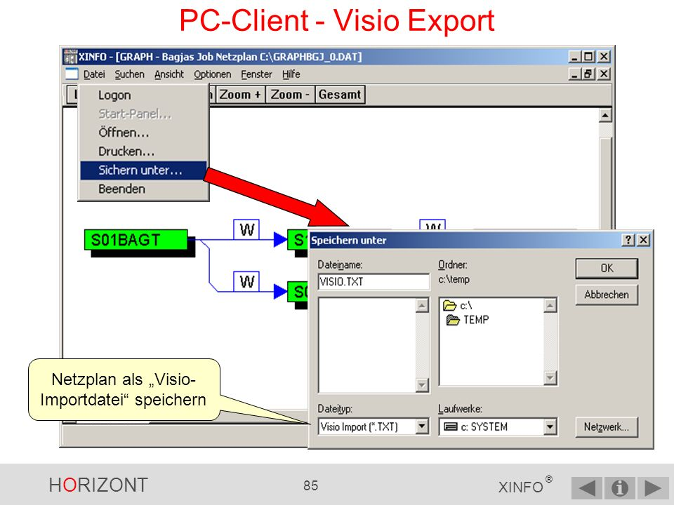HORIZONT 84 XINFO ® Diese Jobfolge nach Visio exportieren PC-Client - Visio Export
