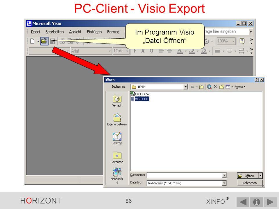 HORIZONT 85 XINFO ® Netzplan als Visio- Importdatei speichern PC-Client - Visio Export