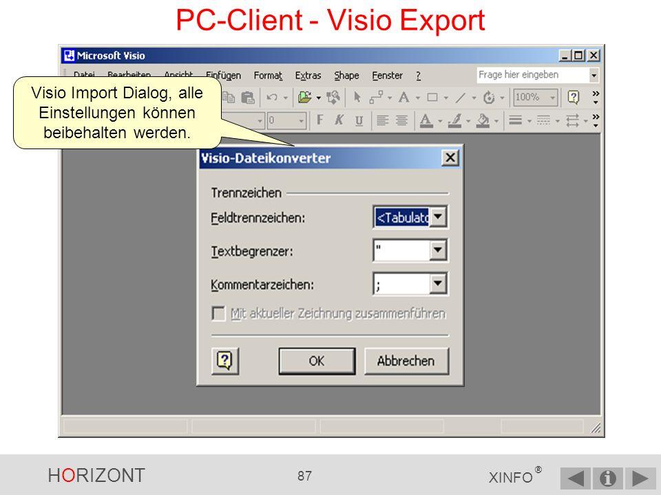 HORIZONT 86 XINFO ® Im Programm Visio Datei Öffnen PC-Client - Visio Export