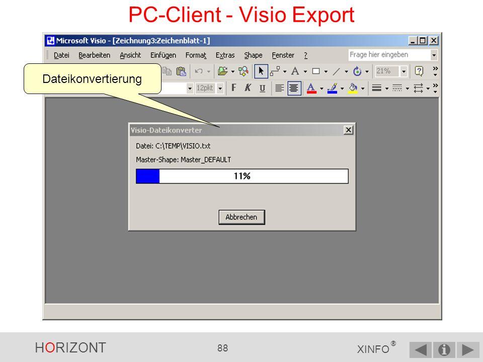 HORIZONT 87 XINFO ® Visio Import Dialog, alle Einstellungen können beibehalten werden.