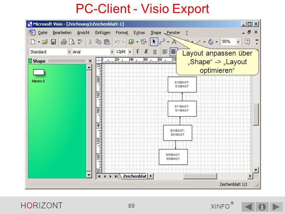 HORIZONT 88 XINFO ® Dateikonvertierung PC-Client - Visio Export