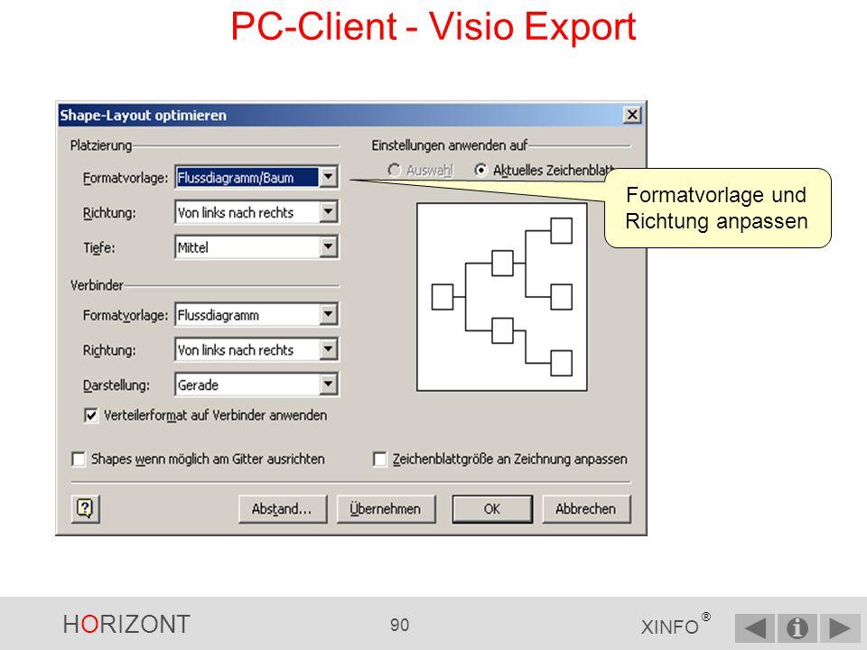 HORIZONT 89 XINFO ® Layout anpassen über Shape -> Layout optimieren PC-Client - Visio Export