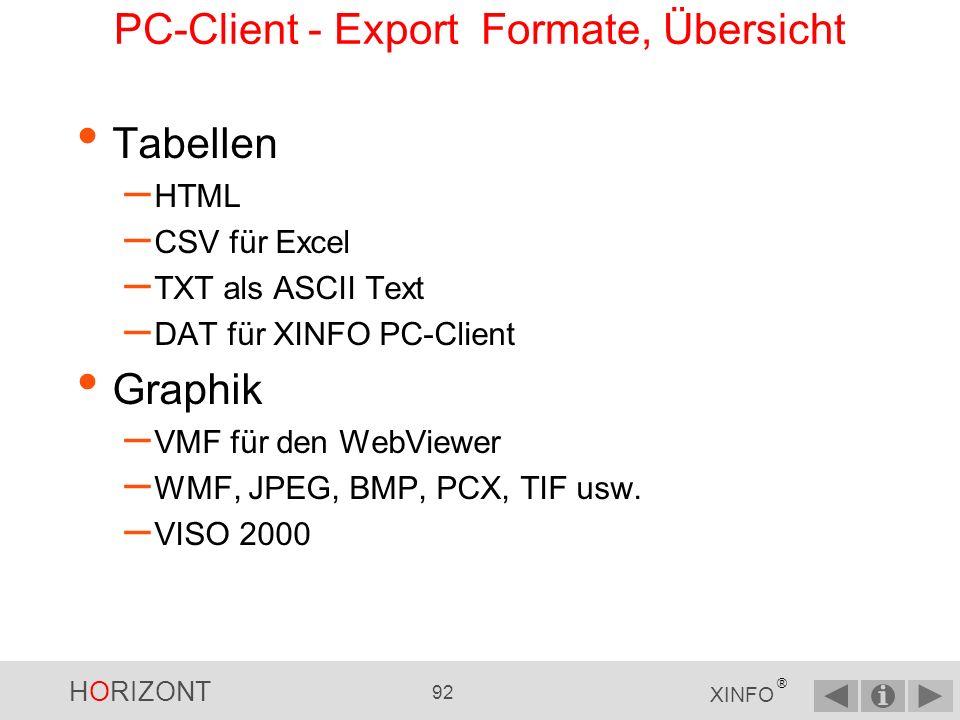 HORIZONT 91 XINFO ® Zum Vergleich PC-Client - Visio Export