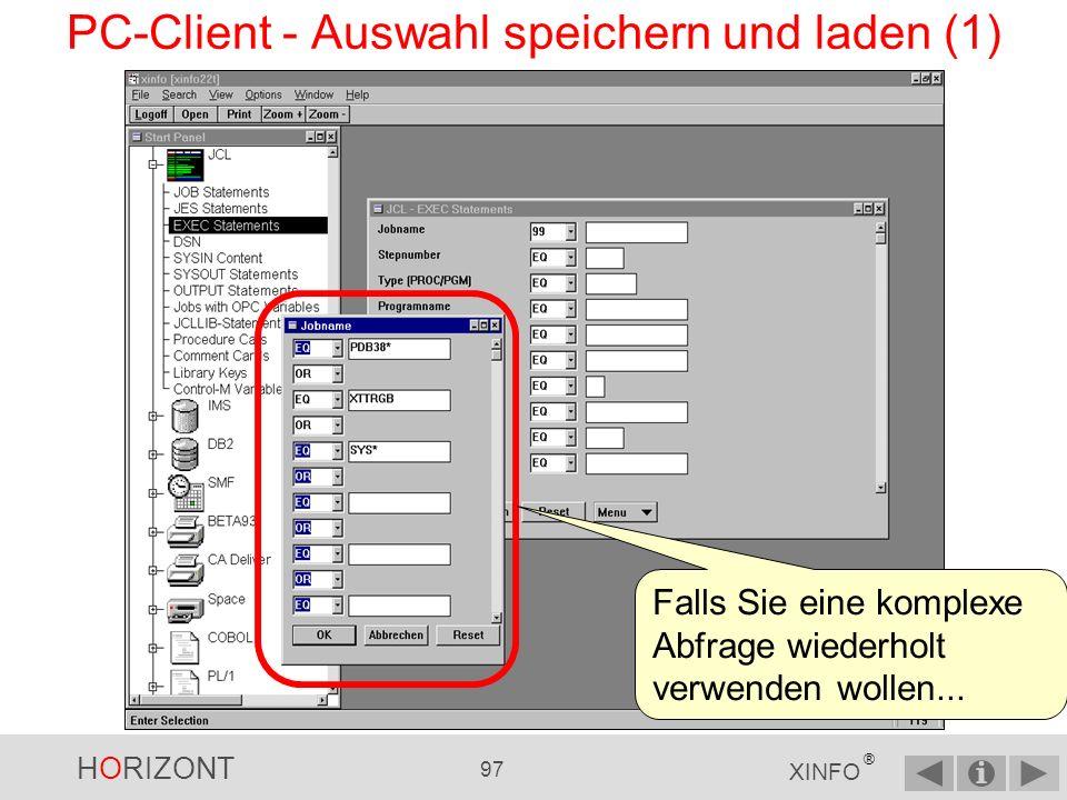 HORIZONT 96 XINFO ® PC-Client - Graphiken, Dateigrössen Ein kleiner Tip: WMF liefert optimale Qualität und spart Plattenplatz