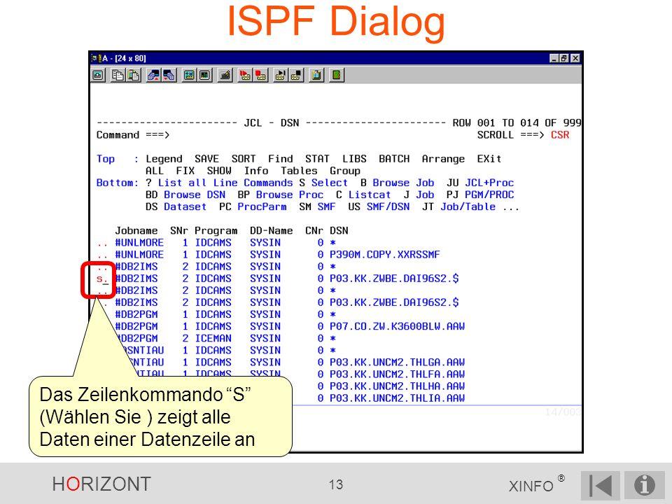 HORIZONT 13 XINFO ® ISPF Dialog Das Zeilenkommando S (Wählen Sie ) zeigt alle Daten einer Datenzeile an