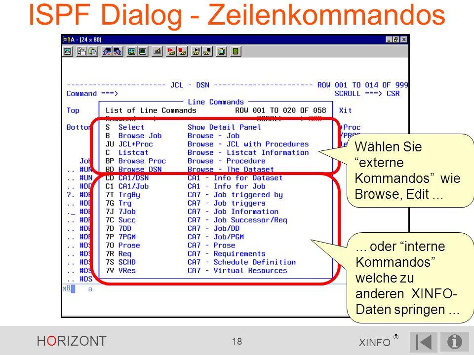 HORIZONT 18 XINFO ® ISPF Dialog - Zeilenkommandos... oder interne Kommandos welche zu anderen XINFO- Daten springen... Wählen Sie externe Kommandos wi