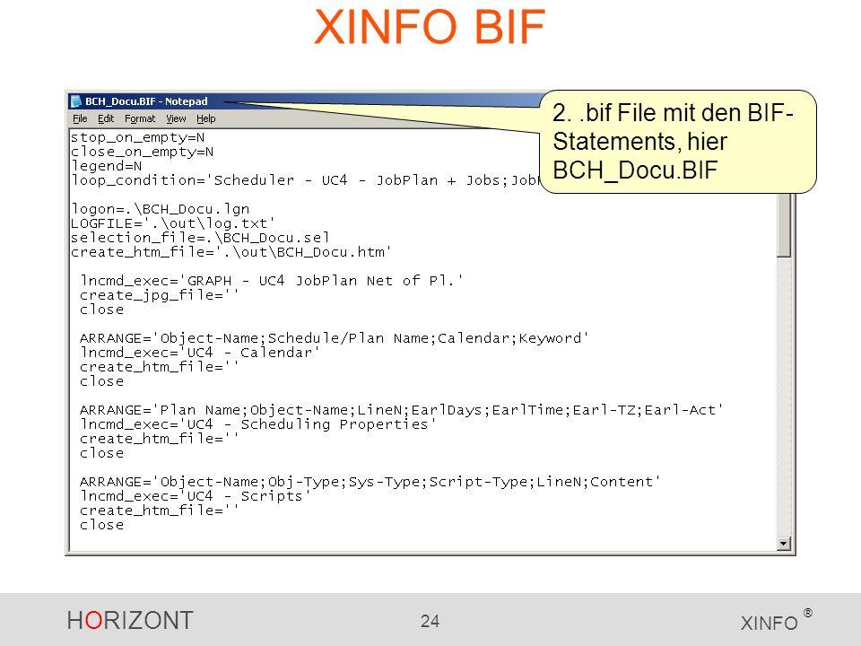 HORIZONT 24 XINFO ® XINFO BIF 2..bif File mit den BIF- Statements, hier BCH_Docu.BIF