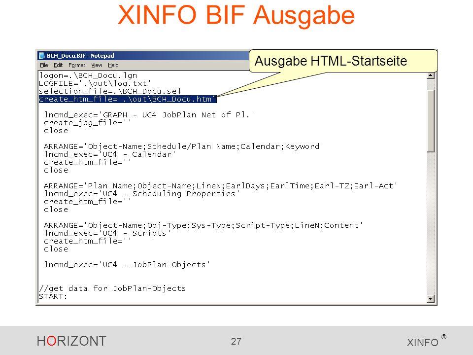 HORIZONT 27 XINFO ® XINFO BIF Ausgabe Ausgabe HTML-Startseite