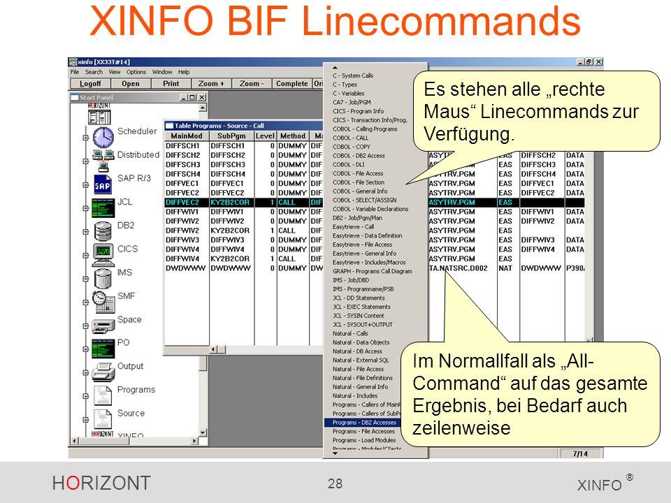 HORIZONT 28 XINFO ® XINFO BIF Linecommands Es stehen alle rechte Maus Linecommands zur Verfügung. Im Normallfall als All- Command auf das gesamte Erge
