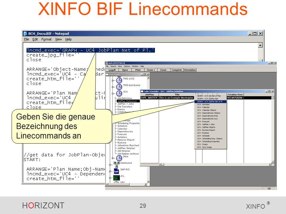 HORIZONT 29 XINFO ® XINFO BIF Linecommands Geben Sie die genaue Bezeichnung des Linecommands an