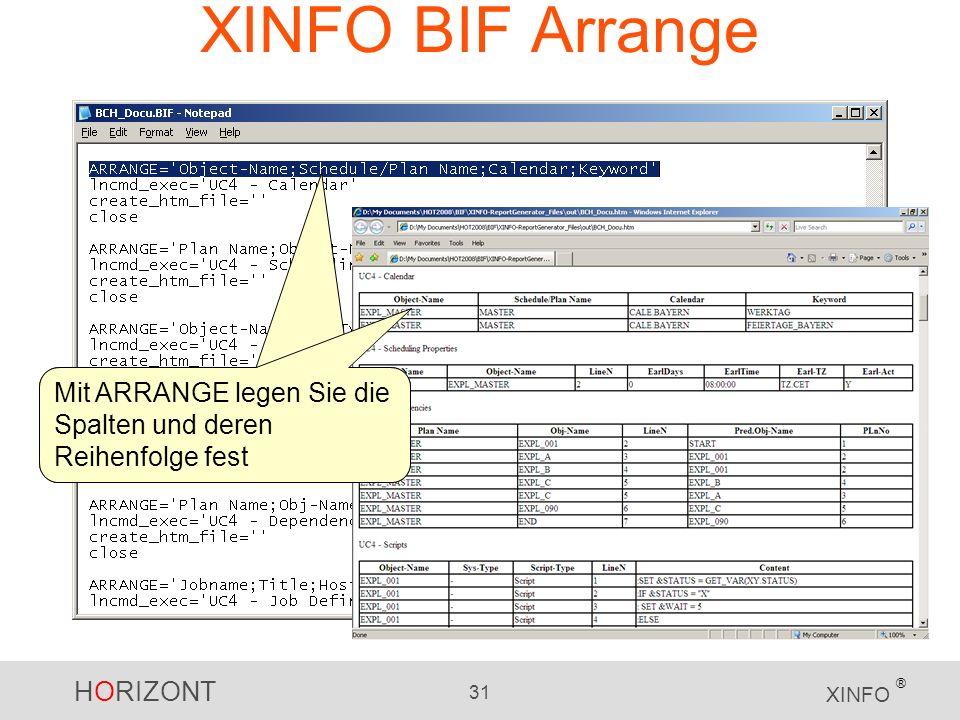 HORIZONT 31 XINFO ® XINFO BIF Arrange Mit ARRANGE legen Sie die Spalten und deren Reihenfolge fest