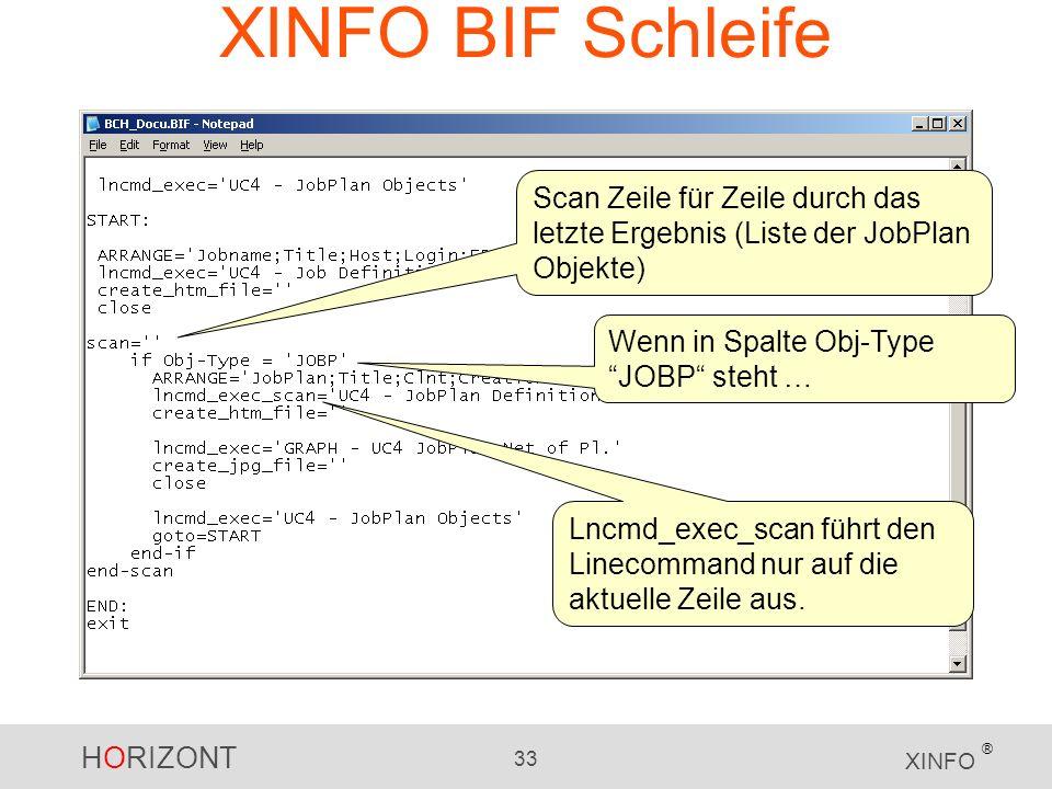 HORIZONT 33 XINFO ® XINFO BIF Schleife Scan Zeile für Zeile durch das letzte Ergebnis (Liste der JobPlan Objekte) Lncmd_exec_scan führt den Linecomman
